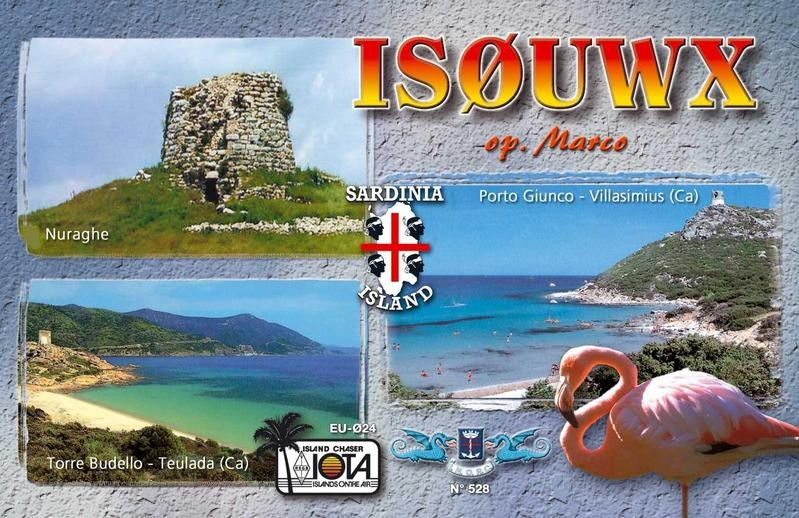 IS0UWX Marco Murtas, Cagliari, Sardinia Island. QSL Card