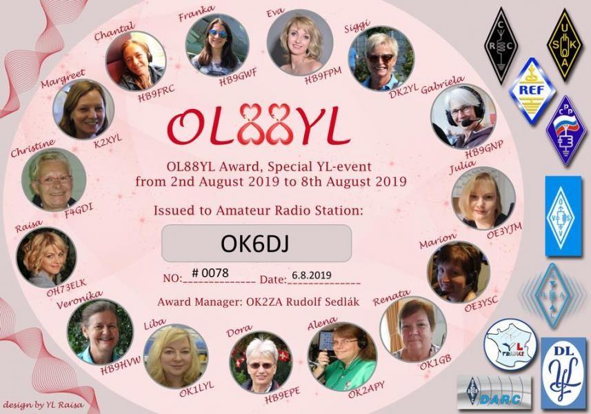 OL88YL Award OK6DJ