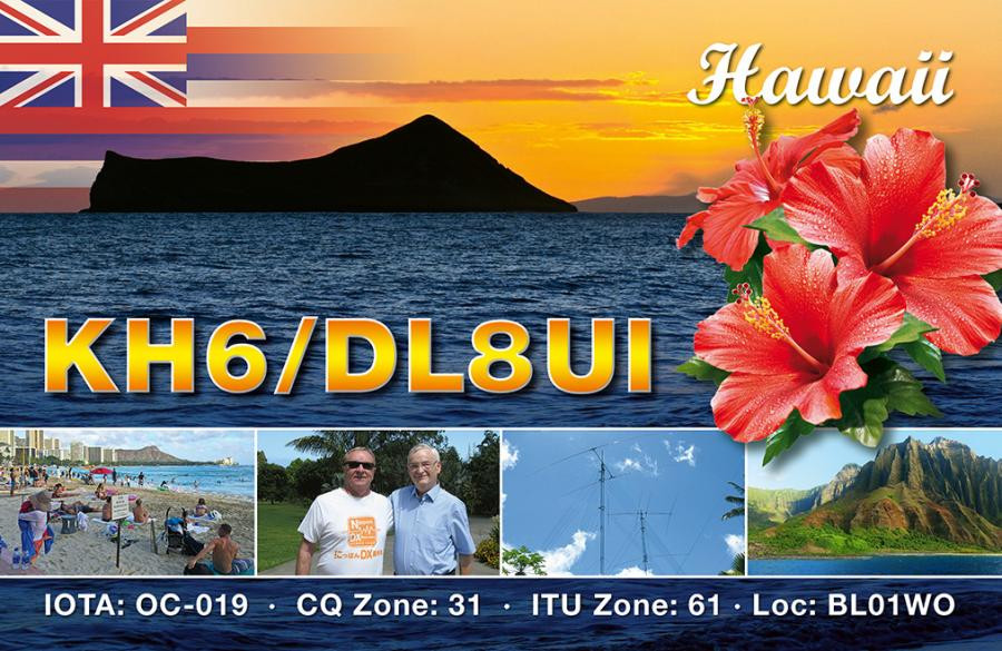 KH6/DL8UI Bernd Nasner, Oahu Island, Hawaiian Islands QSL Card