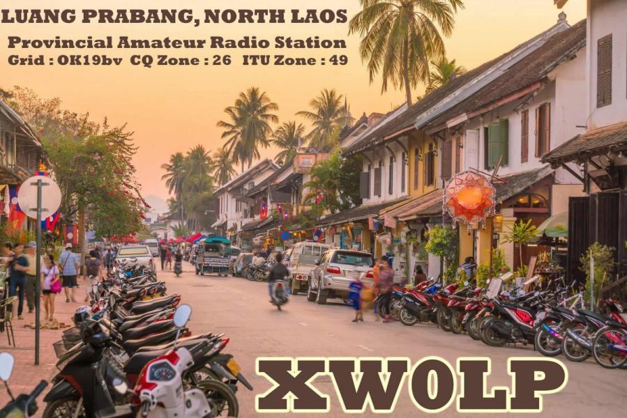 XW0LP Simon Luttrell, Luang Prabang, Laos QSL Card