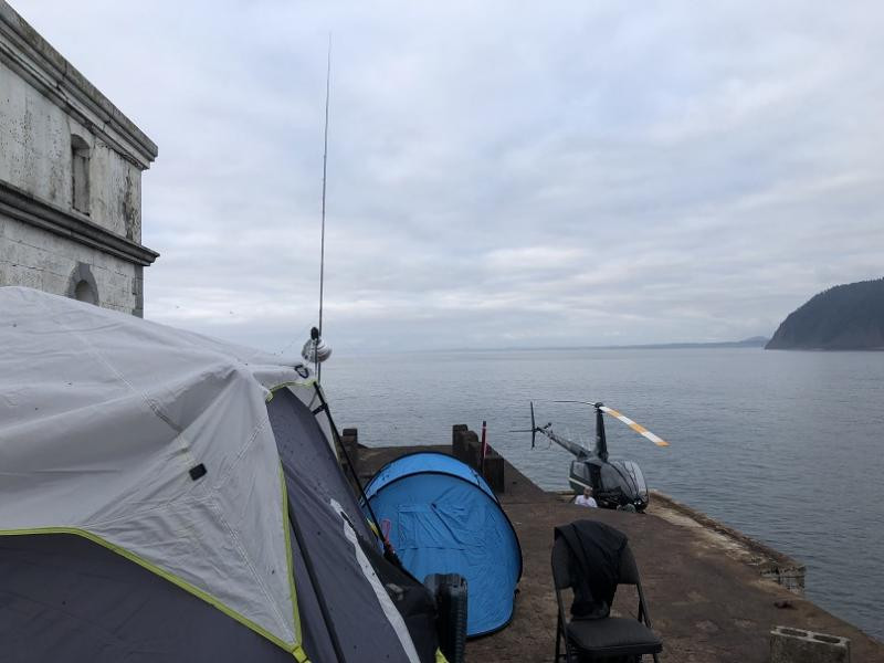 K7TRI Tillamook Rock Radio tents were installed in front of the lighthouse
