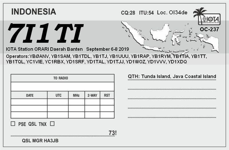 7I1TI Tunda Island QSL Card 2