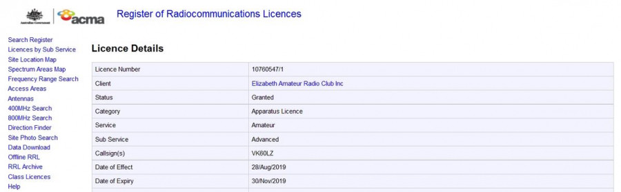VK60LZ Elisabeth Amateur Radio Club, Elisabeth, Australia License