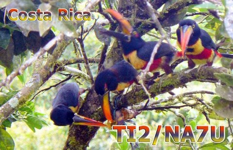 TI2/NA7U Case Bahr, Costa Rica QSL Card