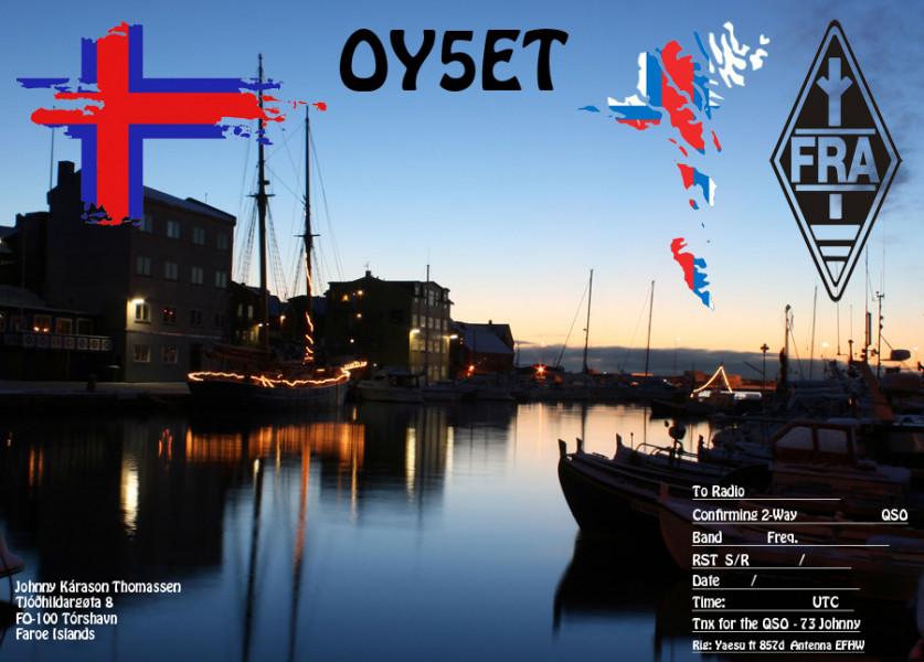 OY5ET Johnny Thomassen, Torshavn, Faroe Islands QSL Card