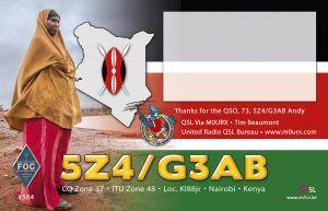 5Z4/G3AB Kenya QSL 2