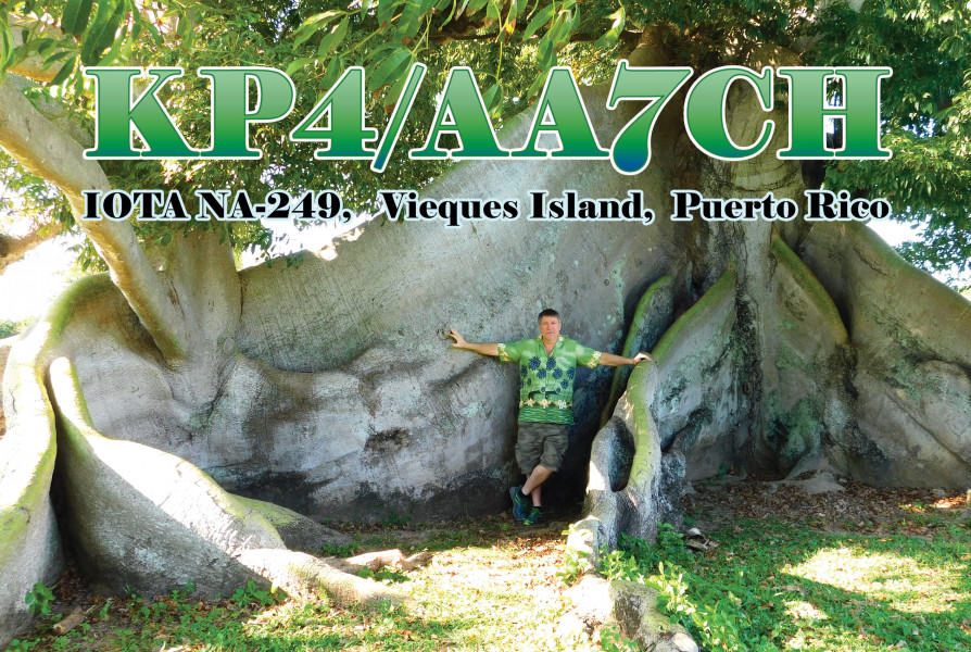 KP4/AA7CH Vieques Island QSL Front