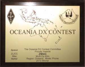 Oceania DX Contest Plaque