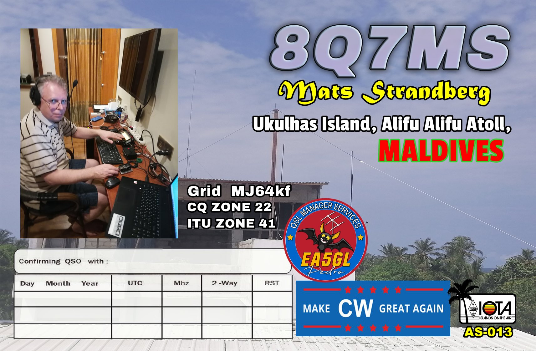 8Q7MS Ukulhas Island, Alifu Alifu Atoll, Maldive Islands QSL Card