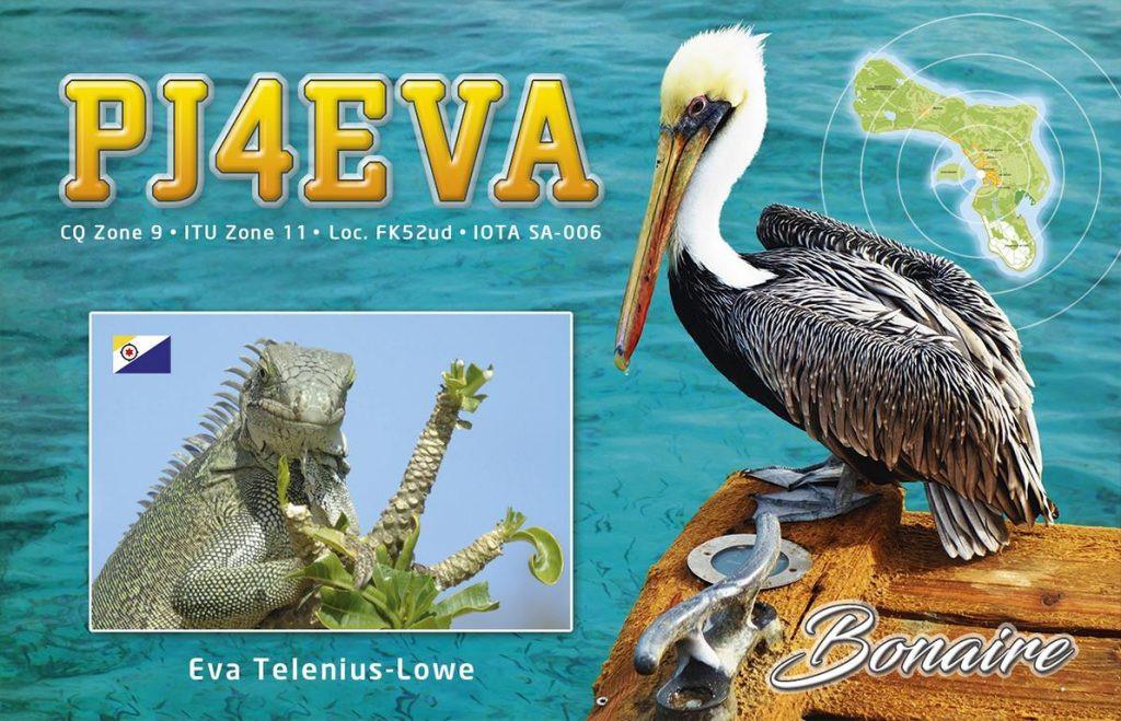 PJ4EVA Bonaire Island QSL Card