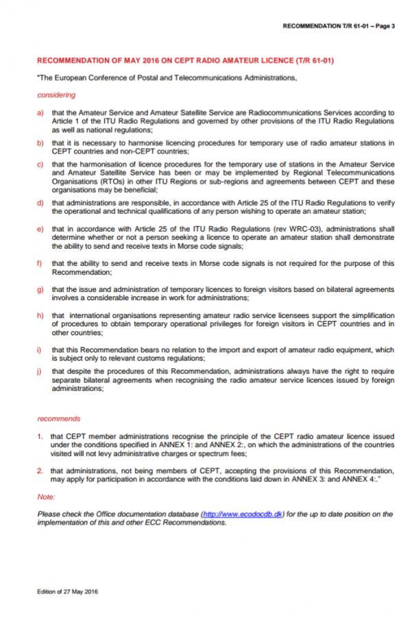 CEPT Amateur Radio Regulation Part 1