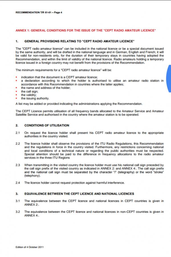 CEPT Amateur Radio Regulation Part 2