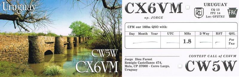 CW5W Jorge Diez Furest, Melo, Uruguay. QSL.