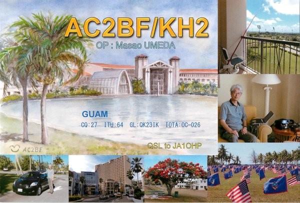 AC2BF/KH2 Masao Umeda, Guam Island. QSL.