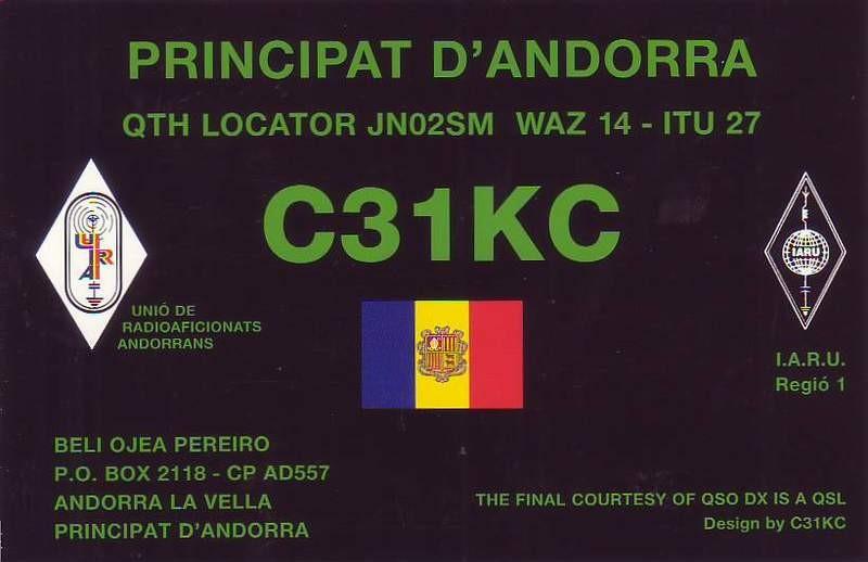 C31KC Andorra la Vella, Andorra. QSL.