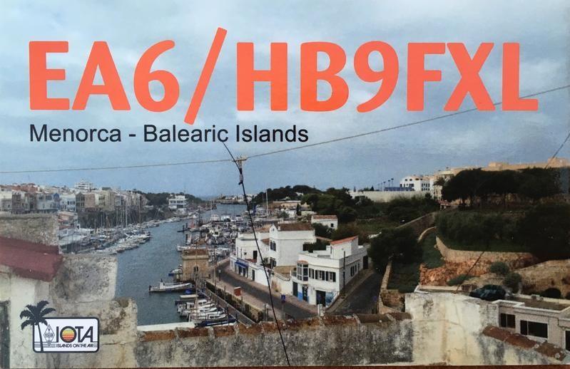 EA6/HB9FXL Steff Gruber, Ciutadella de Menorca, Menorca, Balearic Islands. QSL.