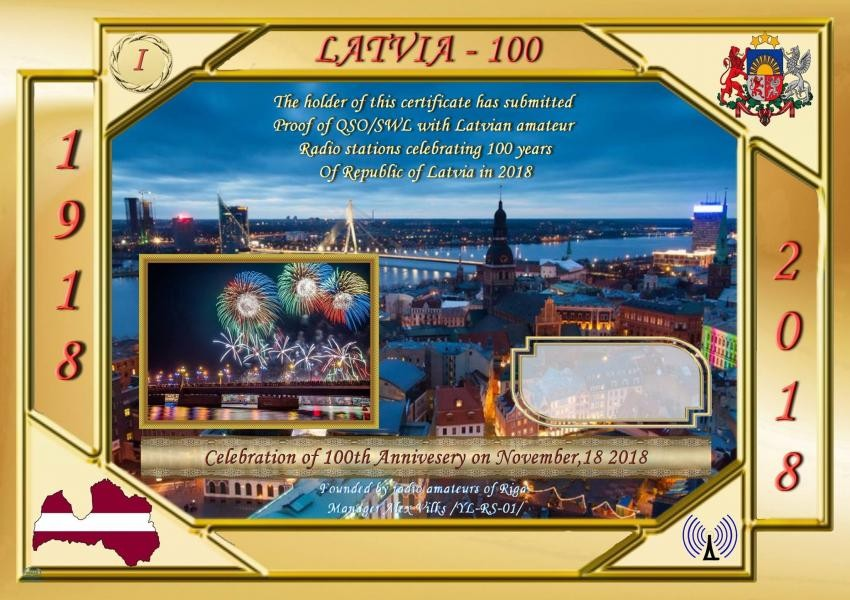 Latvia 100 Amateur Radio Award