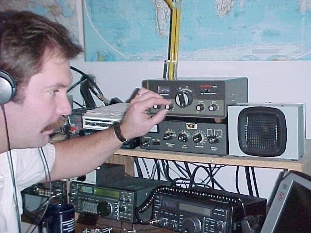 AL7JK William Raynsford, Eagle River, Alaska. Radio Room Shack.