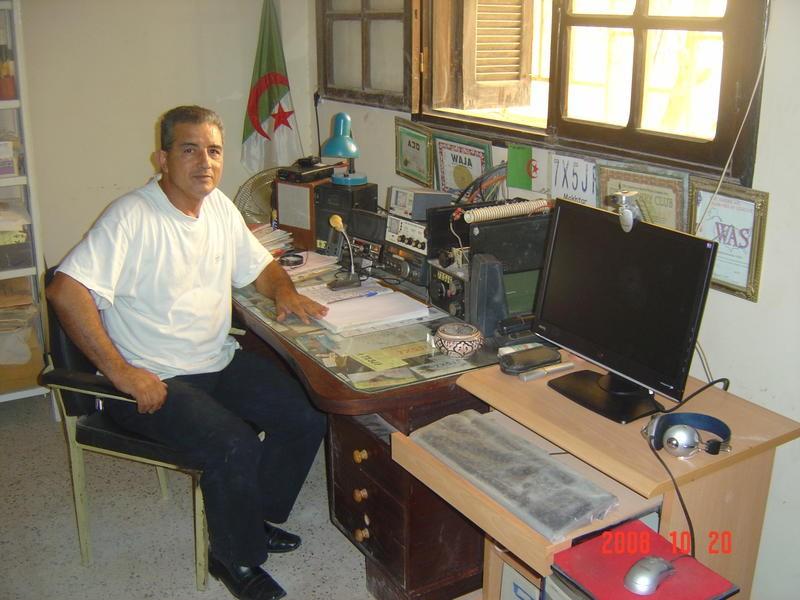 7X5JF Mokhtar Bensmain, Biskra, Algeria. Radio Room Shack.