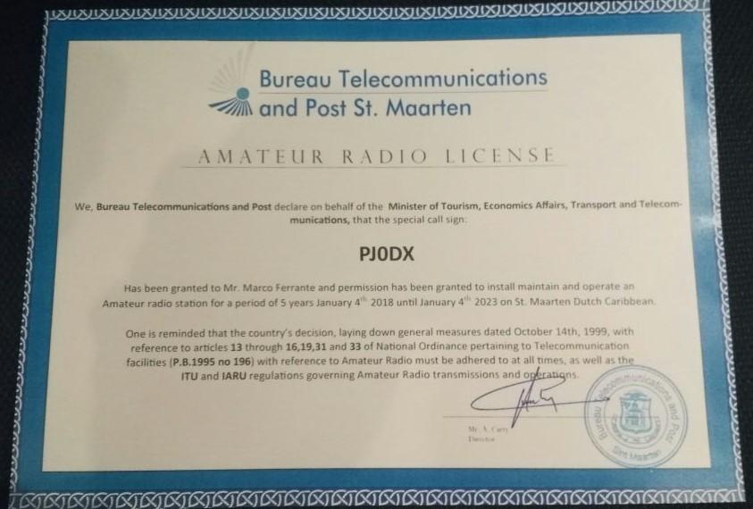 PJ0DX Beacon Hill, Sint Maarten. Amateur Radio License. Sint Maarten Contest Club