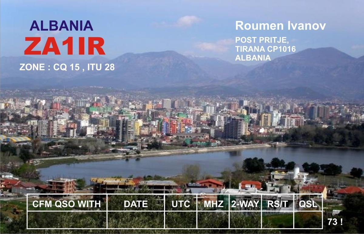 ZA1IR Tirana Albania QSL