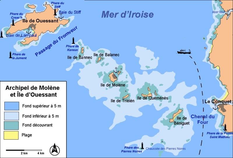 TM65EU Ponant Islands, Trielen Island, Bannec Island, Molene Island