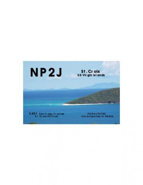 NP2J St Croix DX Club, Crhistiansted, US Virgin Islands. QSL Card.