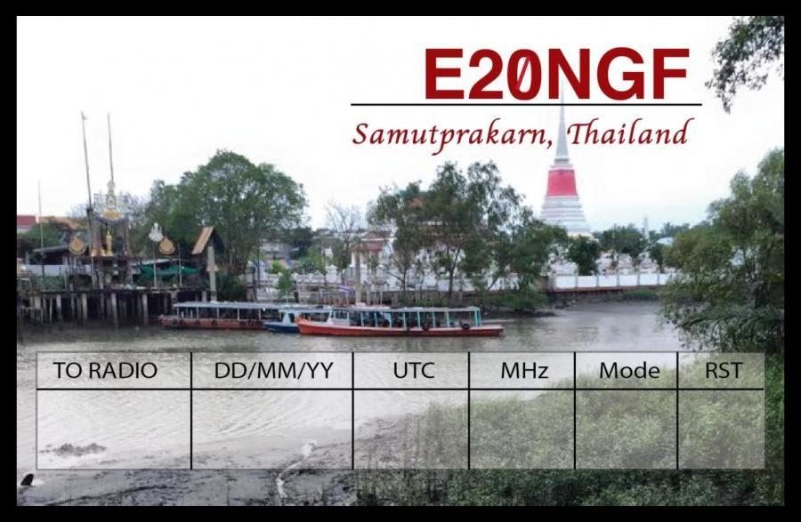 E20NGF Pong K., Samut Prakan, Thailand. QSL Card.