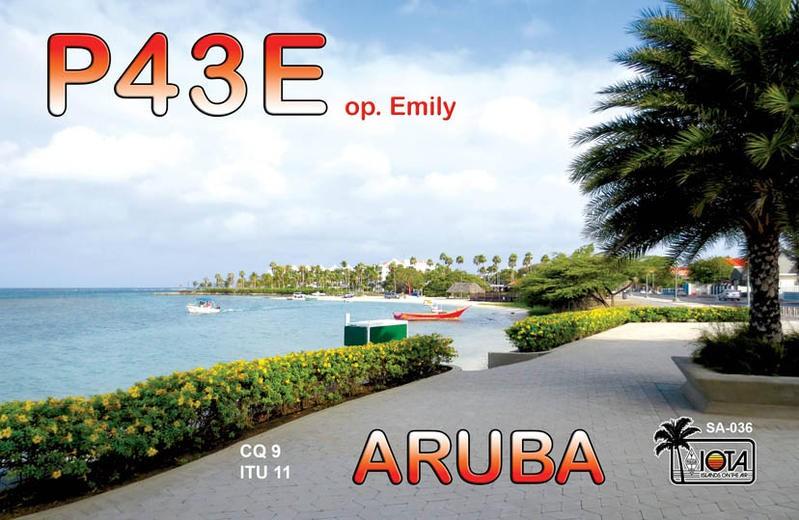P43E Emily Thiel, Oranjestad, Aruba. QSL.