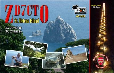 ZD7CTO Derek Richards, Jamestown, Saint Helena Island. QSL Card.