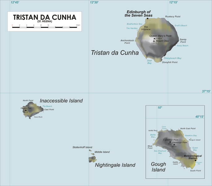 Gough Island Tristan da Cunha Island DX News MAP
