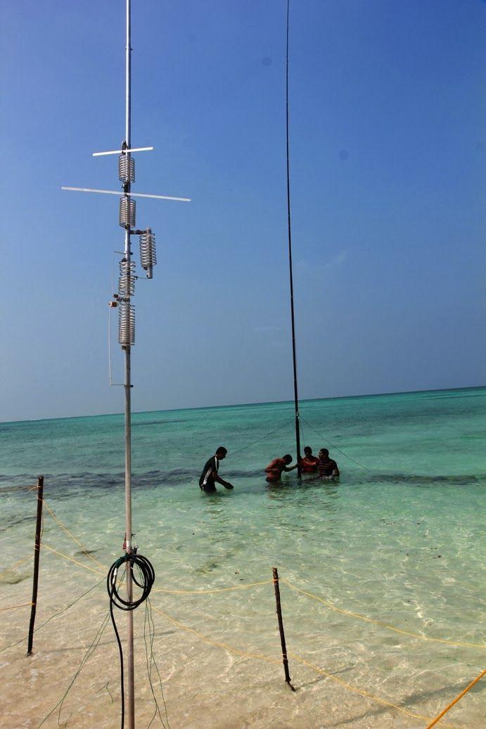 Остров Агатти VU7AG Вертикальная антенна