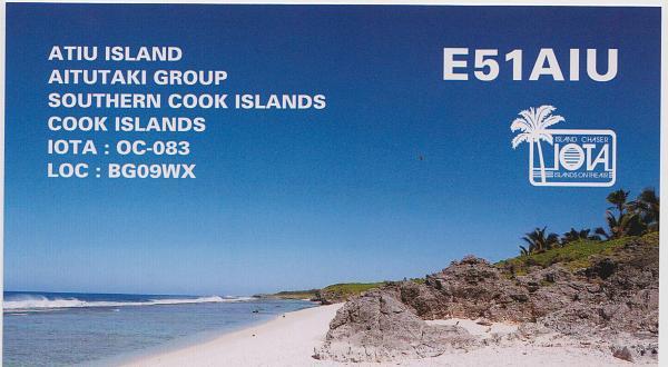 Atiu Island Aitutaki Islands E51AIU QSL