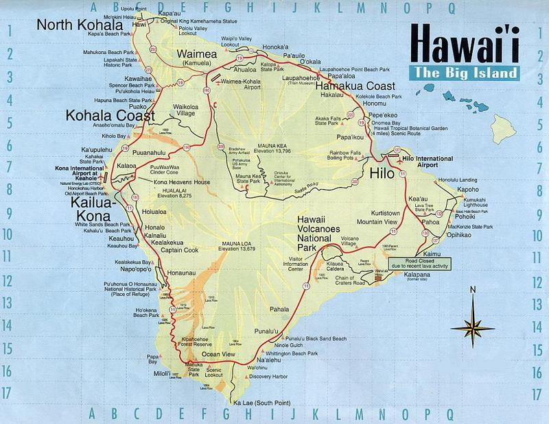 Big Island Hawaii Map KH6/N0FUX