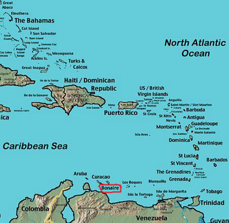 Остров Бонэйр PJ4J Карта