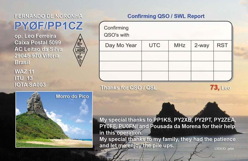 Fernando de Noronha Island PY0F/PP1CZ QSL Card