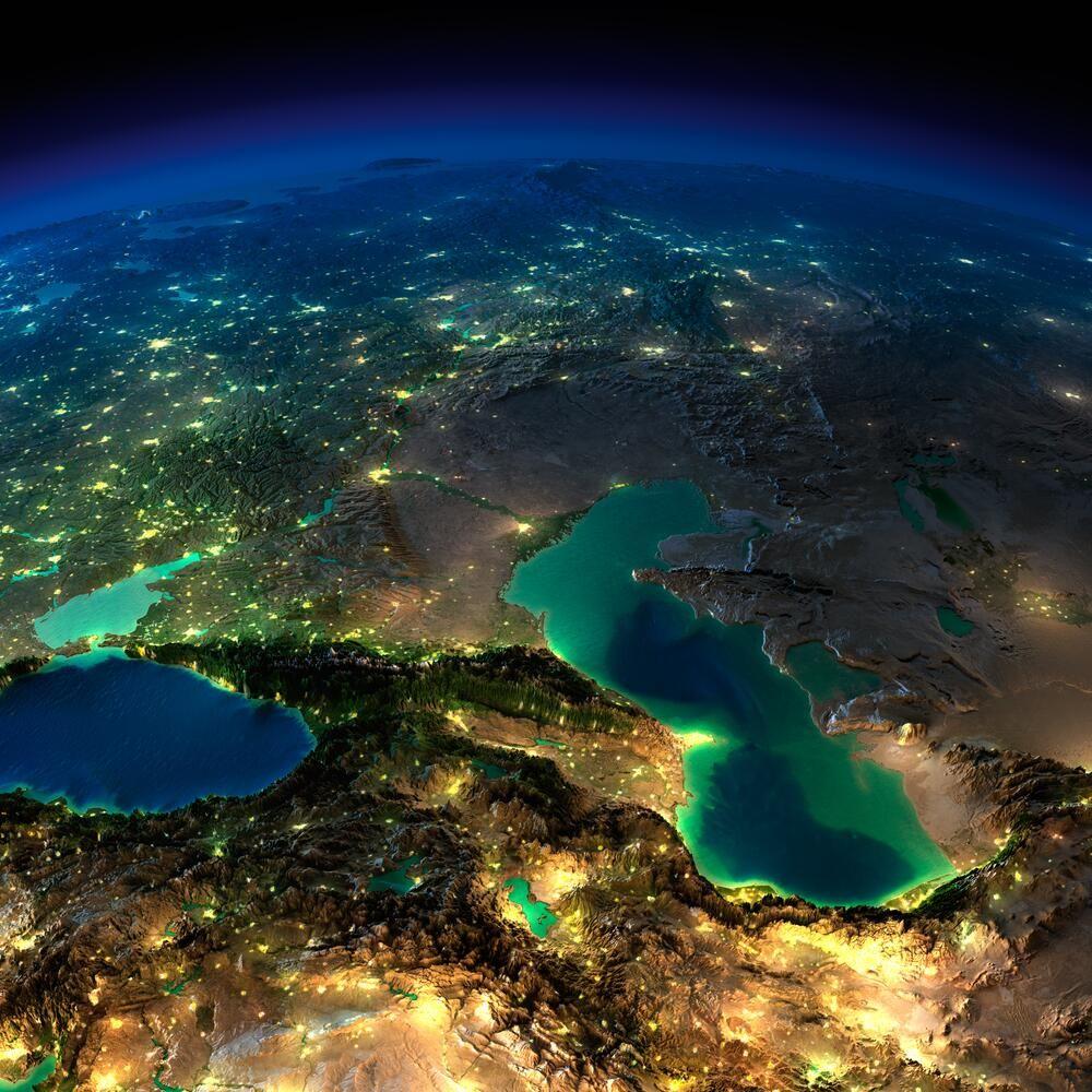 Снимок из космоса Грузия Армения Азербайджан Россия Турция Турменистан Казахстан Украина Иран