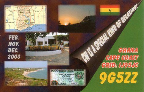 Гана 9G5ZZ QSL