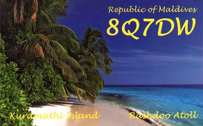 Kuramithi Island Maldive Islands 8Q7DW QSL