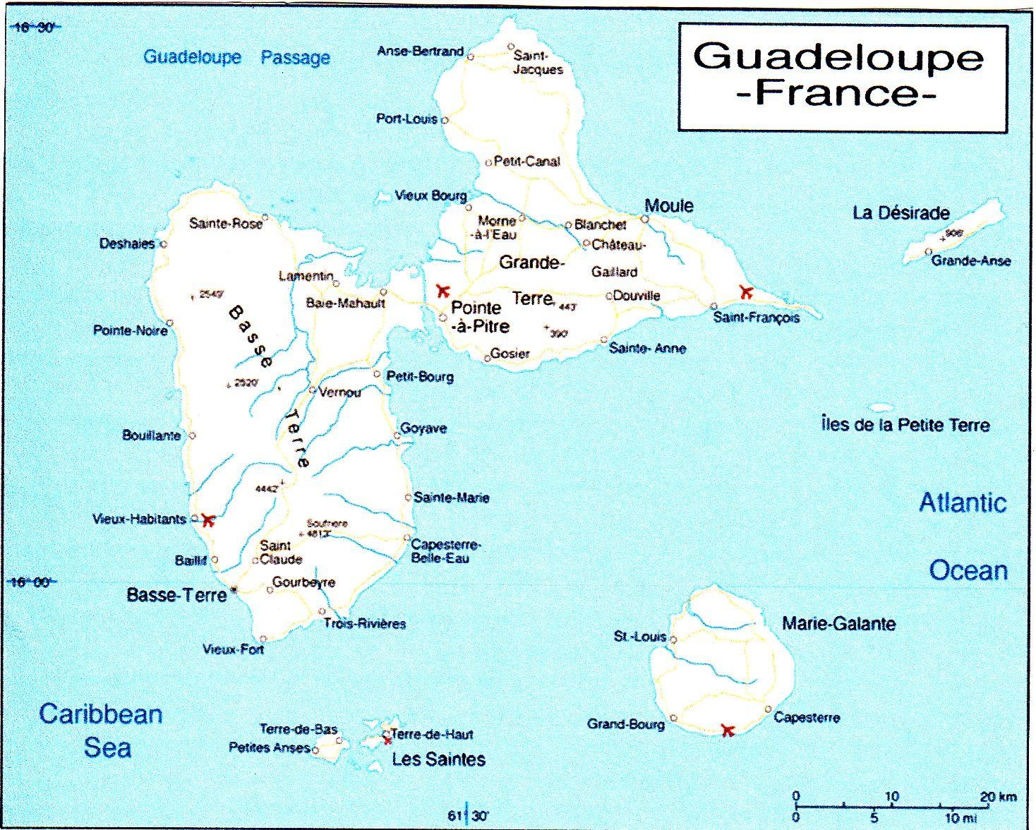 Острова Ле Сент Гваделупа TO6A Карта