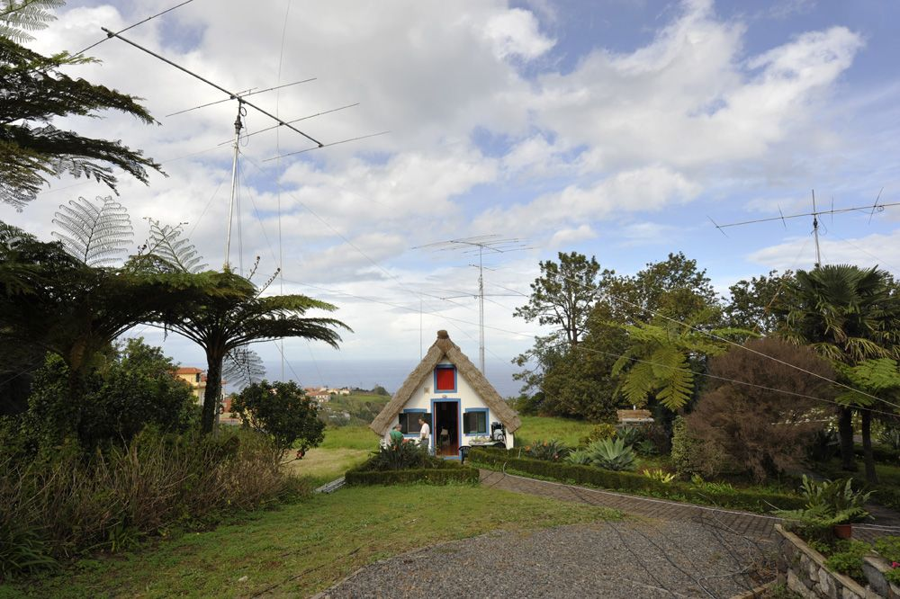 Madeira The cabana surrounded by antennas and subtropical vegetation. CR3L
