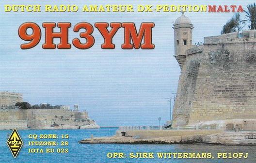 Мальта 9H3YM QSL
