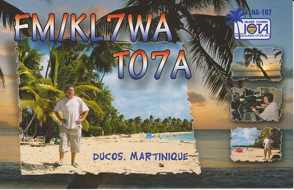 Martinique Island TO7A FM/KL7WA QSL