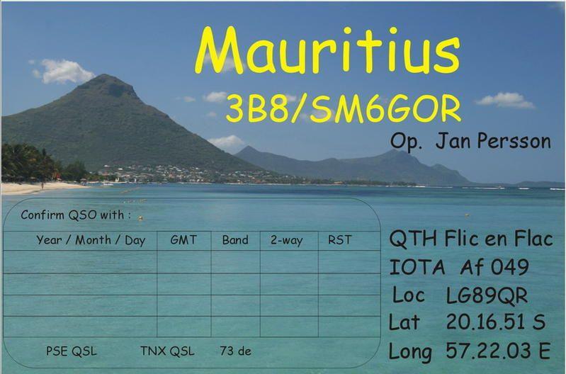 Mauritius Island 3B8/SM6GOR