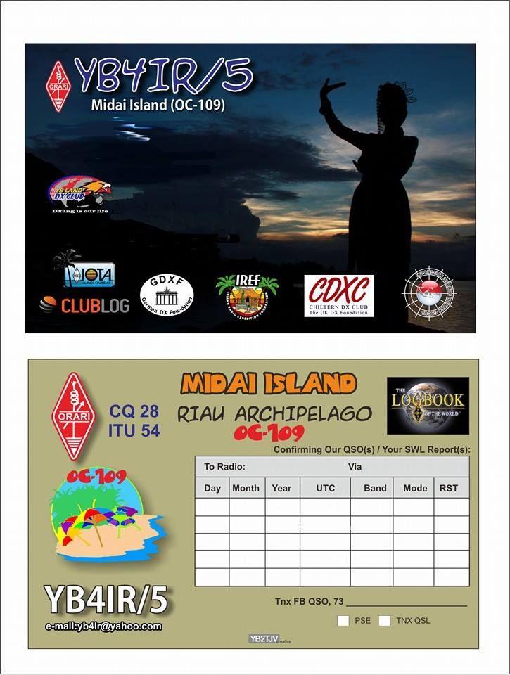 Midai Island YB4IR/5 QSL