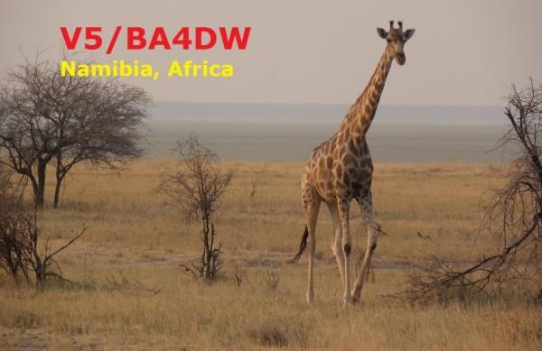 Namibia V5/BA4DW QSL