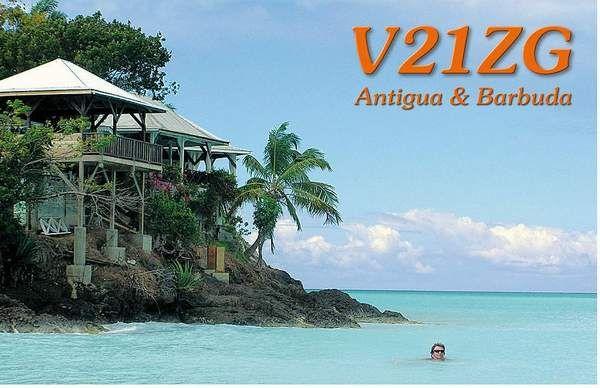 Остров Антигуа V21ZG QSL