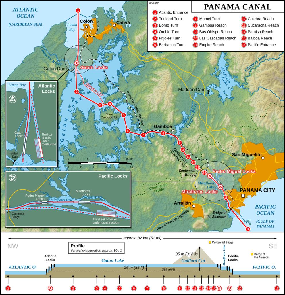 Panama Panama Canal Map