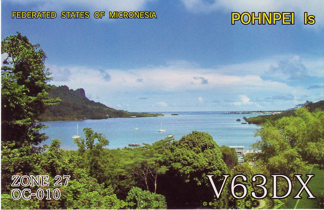 Pohnpei Island Carolin Islands Federal States of Micronesia V63DX QSL