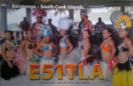 Rarotonga Island South Cook Islands E51TLA QSL